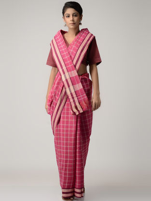 Pink-Ivory Goan Adivasi Revival Cotton Saree with Woven Border