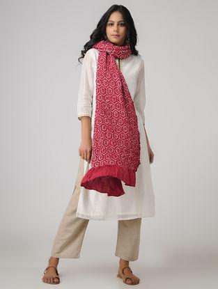 Pink-Ivory Bandhani Gajji Satin-Silk Dupatta