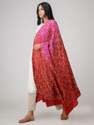 Red-Pink Bandhani Gajji Satin-Silk Dupatta