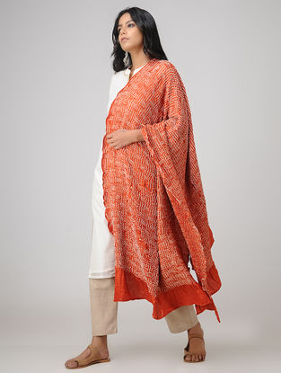Orange-Ivory Bandhani Gajji Satin-Silk Dupatta