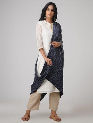 Blue-Ivory Bandhani Gajji Satin-Silk Dupatta