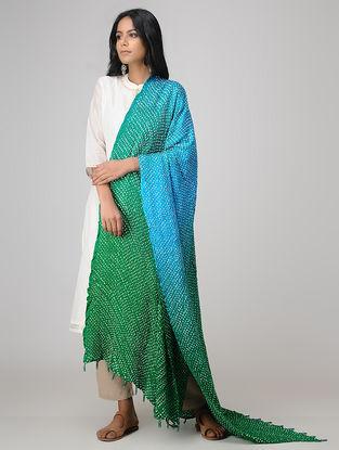 Green-Blue Bandhani Gajji Satin-Silk Dupatta with Beads