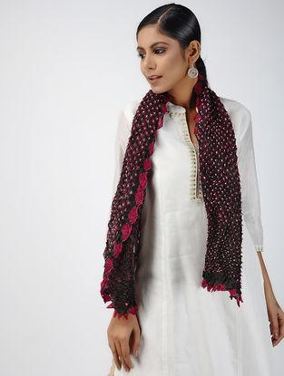 Black-Pink Bandhani Tabby Silk Stole