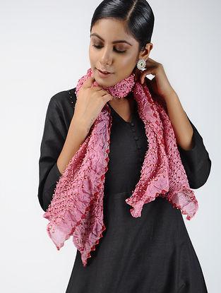 Pink-Ivory Bandhani Tabby Silk Stole