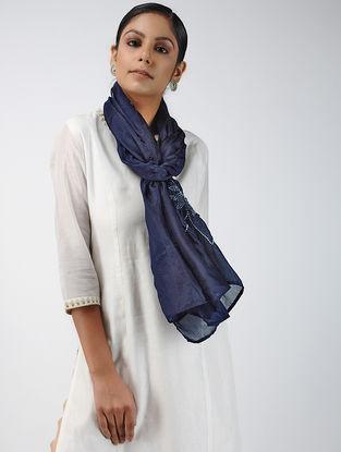 Blue-Ivory Bandhani Tabby Silk Stole