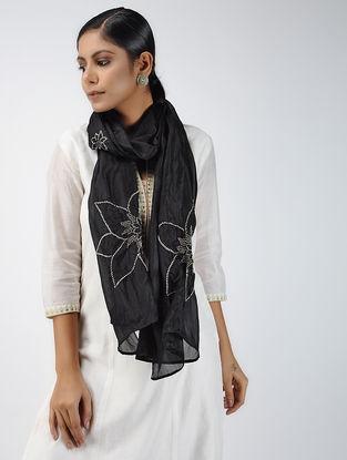 Black-Ivory Bandhani Tabby Silk Stole
