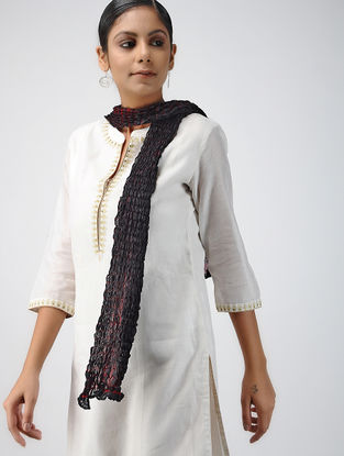 Black-Red Shibori-dyed Tabby Silk Stole