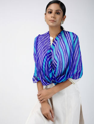 Blue-Ivory Leheriya Georgette Stole
