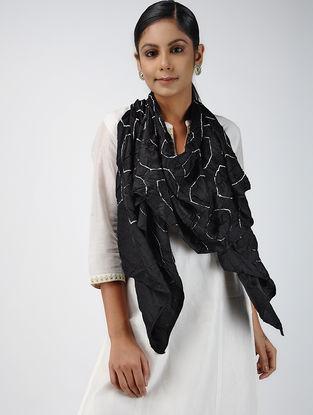 Teal-Ivory Bandhani Gajji Silk Stole