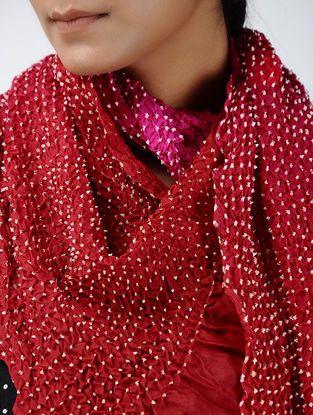 Red-Pink Bandhani Mulberry Silk Stole