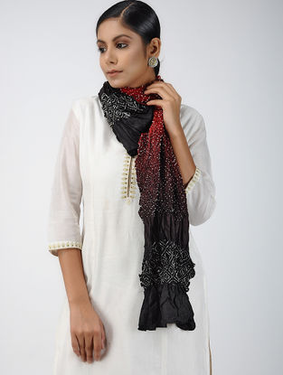 Black-Red Bandhani Mulberry Silk Stole
