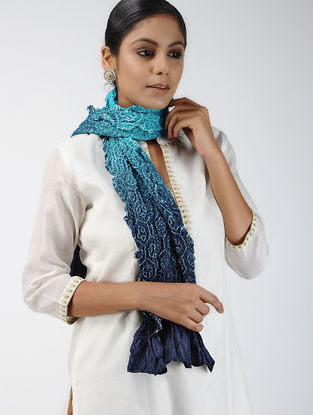 Blue-Ivory Bandhani Mulberry Silk Stole