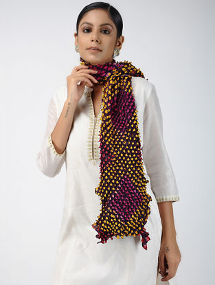 Purple-Yellow Bandhani Mulberry Silk Stole