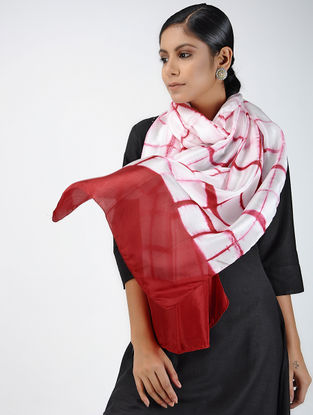 Ivory-Red Clamp-dyed Habutai Silk Stole