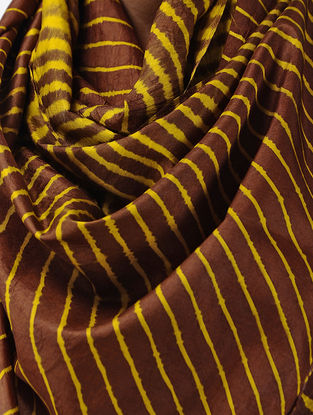 Maroon-Yellow Leheriya Mulberry Silk Stole