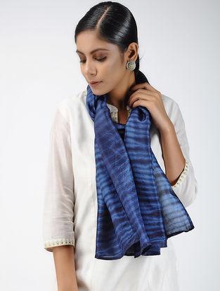 Blue Shibori-dyed Habutai Silk Stole