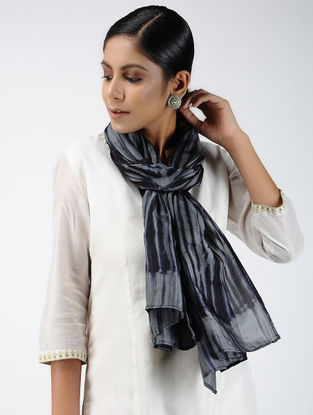 Grey-Black Shibori-dyed Habutai Silk Stole