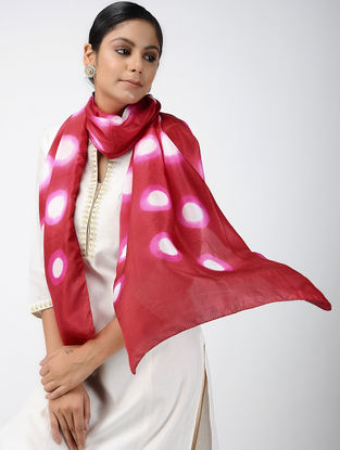 Red-Ivory Clamp-dyed Habutai Silk Stole