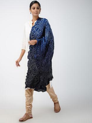 Blue-Black Bandhani Habutai Silk Dupatta