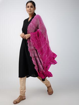 Pink-Ivory Bandhani Habutai Silk Dupatta