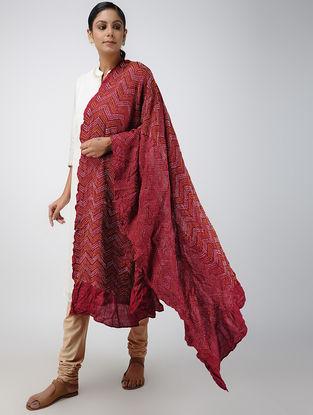 Pink-Yellow Bandhani Gajji Silk Dupatta