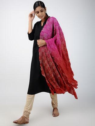 Pink-Red Bandhani Silk Dupatta
