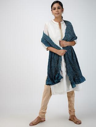 Teal-Ivory Bandhani Silk Dupatta