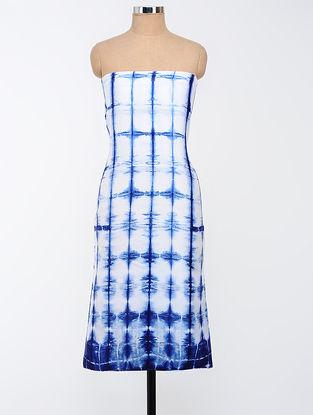 White-Blue Clamp-dyed Chanderi Kurta Fabric