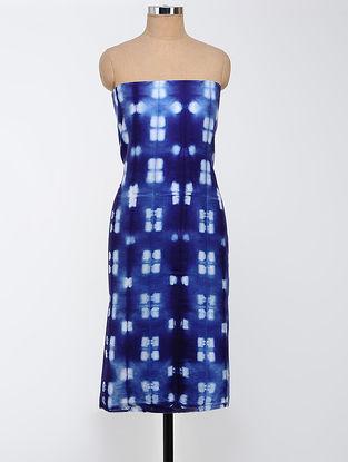 Blue-White Clamp-dyed Chanderi Kurta Fabric