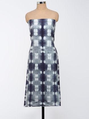 Grey-Black Clamp-dyed Chanderi Kurta Fabric