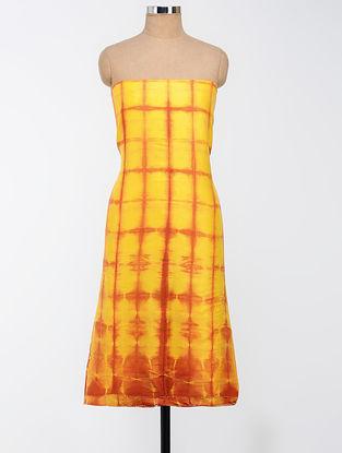 Yellow-Orange Clamp-dyed Chanderi Kurta Fabric