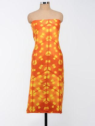 Orange-Yellow Clamp-dyed Chanderi Kurta Fabric
