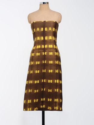 Brown-Yellow Clamp-dyed Chanderi Kurta Fabric