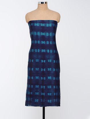 Blue Clamp-dyed Chanderi Kurta Fabric