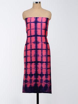 Blue-Pink Clamp-dyed Chanderi Kurta Fabric