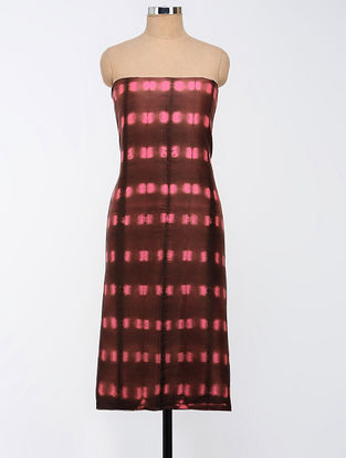 Brown-Pink Clamp-dyed Chanderi Kurta Fabric