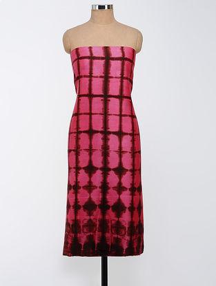 Pink-Brown Clamp-dyed Chanderi Kurta Fabric