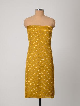 Ochre-Ivory Bandhani Gajji Satin-Silk Kurta Fabric