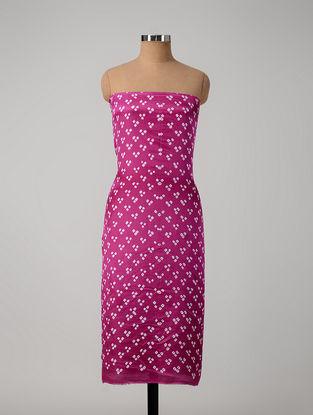 Pink-Ivory Bandhani Gajji Satin-Silk Kurta Fabric