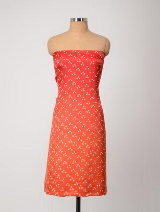 Orange-Ivory Bandhani Gajji Satin-Silk Kurta Fabric