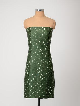 Green-Ivory Bandhani Gajji Satin-Silk Kurta Fabric