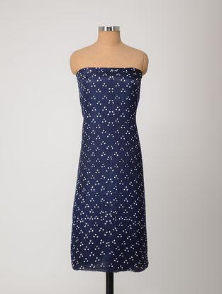 Blue-Ivory Bandhani Gajji Satin-Silk Kurta Fabric