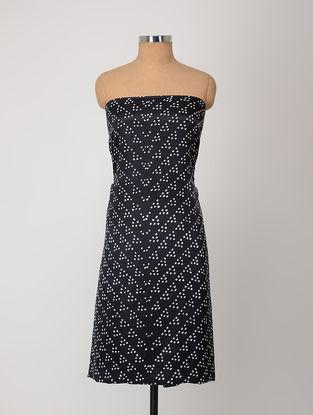 Black-Ivory Bandhani Gajji Satin-Silk Kurta Fabric