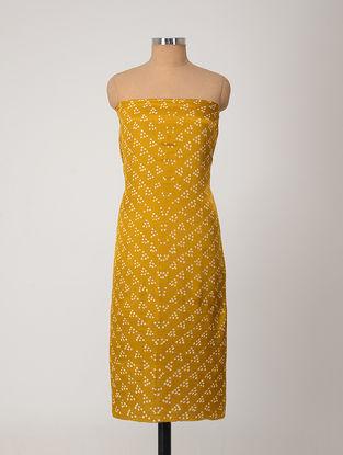 Yellow-Ivory Bandhani Gajji Satin-Silk Kurta Fabric