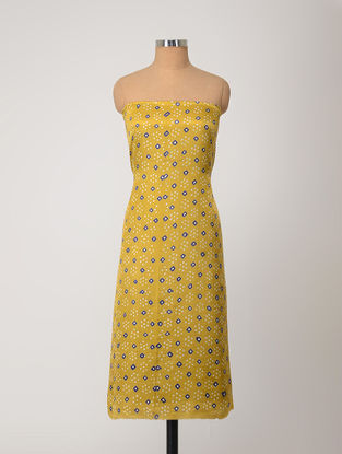 Yellow-Blue Bandhani Gajji Satin-Silk Kurta Fabric
