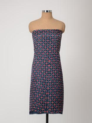 Blue-Red Bandhani Gajji Satin-Silk Kurta Fabric