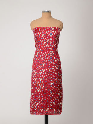 Red-Ivory Bandhani Gajji Satin-Silk Kurta Fabric