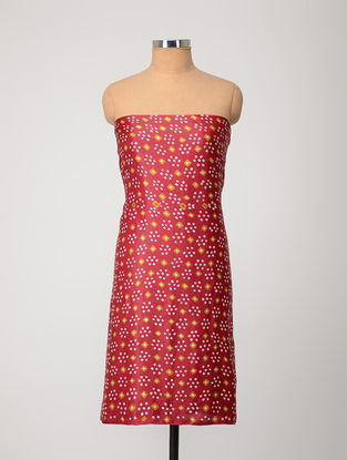 Red-Yellow Bandhani Gajji Satin-Silk Kurta Fabric