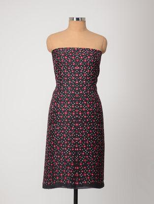 Black-Pink Bandhani Silk Kurta Fabric