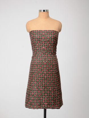 Olive-Pink Bandhani Silk Kurta Fabric